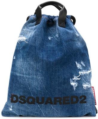 DSQUARED2 distressed denim backpack