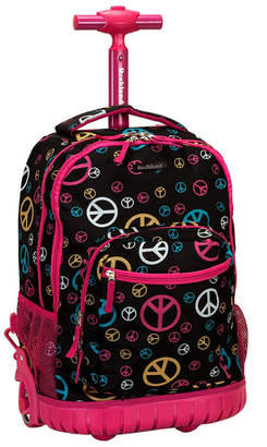 "Rockland Peace Signs 19"" Rolling Backpack"