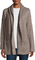 Vince Hooded Ribbed-Knit Cardigan, Misty Oak