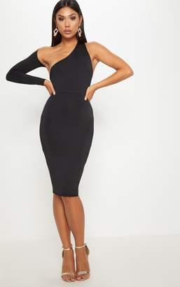 PrettyLittleThing Black Disco Slinky One Shoulder Midi Dress