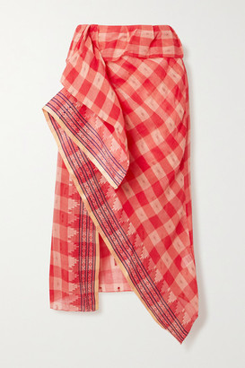 Ulla Johnson Merida Jacquard-trimmed Checked Fil Coupe Cotton-voile Skirt - Pink