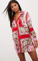 PrettyLittleThing Pink Scarf Print Shirt Dress