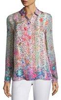 Elie Tahari Martha Floral-Print Silk Blouse, Pink