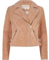 River Island Womens Blush pink suede biker jacket