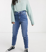 New Look Petite waist enhancing mom jeans in mid blue