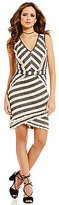 Gianni Bini Tova V-Neck Stripe Tweed Sheath Dress