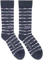 Lanvin Grey Contrast Stripe Logo Socks