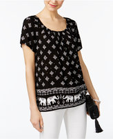 INC International Concepts Elephant-Print Peasant Top, Only at Macy's