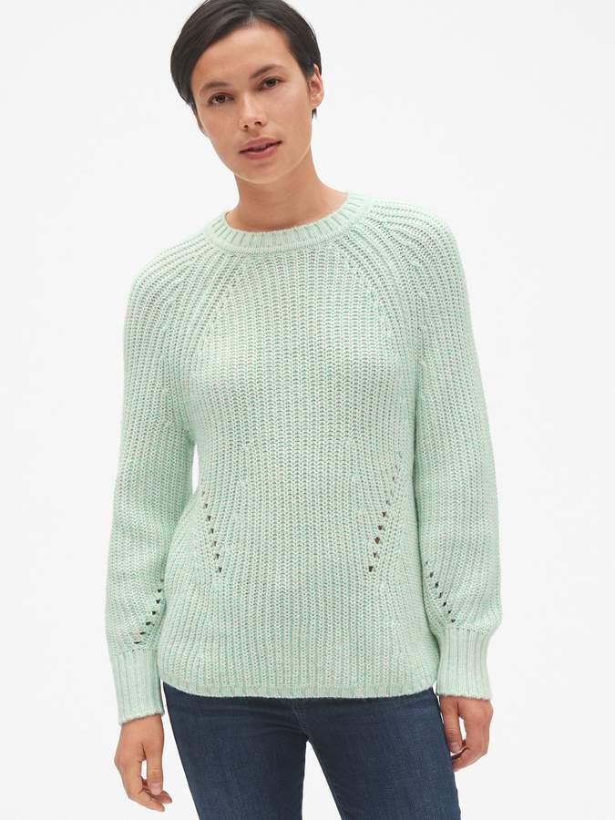Gap Marled Pointelle Crewneck Pullover Sweater