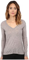 Michael Stars Soft Wool Blend Jersey Long Sleeve Vee Neck