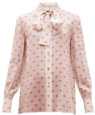 Valentino V Logo Print Tie Neck Silk Blouse - Womens - Pink