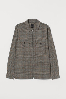 H&M Checked linen-blend shacket
