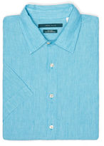 Perry Ellis Big and Tall Short Sleeve Linen Chambray Shirt