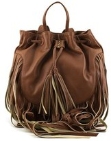 Mossimo Gloria Fringe Backpack Women Synthetic Brown Backpack.