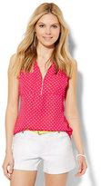 New York & Co. Soho Soft Shirt - Zip-Front - Polka Dot