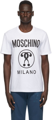Moschino White Double Question Mark Logo T-Shirt