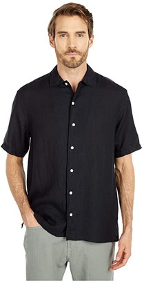 Eton Short Sleeve Casual Fit Solid Linen Popover (Black) Men's Clothing