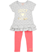 Juicy Couture Heather Gray Hearts Tunic & Coral Leggings - Girls