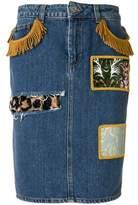 Jeremy Scott Women's Blue Cotton Skirt.