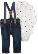 Carter's 3-Pc. Shirt Bodysuit, Jeans & Suspenders Set, Baby Boys