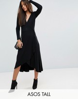 ASOS Tall ASOS TALL Midi Wrap Tea Dress With Long Sleeves