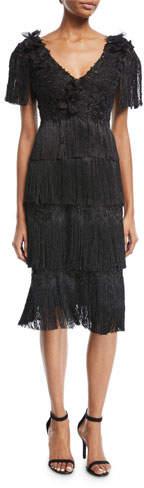 Marchesa Tiered Fringe Knee-Length Cocktail Dress
