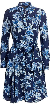 Lela Rose Wildflower-Print Georgette Shirtdress