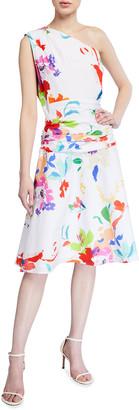 Finley Sheila Floral Print One-Shoulder Dress