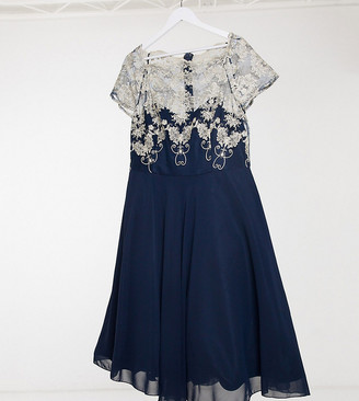 Chi Chi London Plus contrast lace skater dress in navy