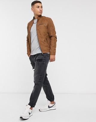 Jack and Jones Essentials biker jacket in faux suede tan