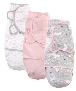 Hudson Baby Baby Girl Swaddle Wrap, 3 Pack