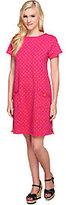 Susan Graver Weekend Dot Print French Terry Bateau Neck Dress
