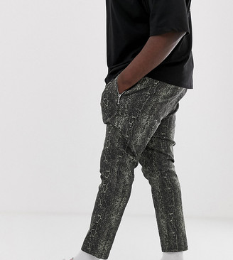 Asos Design DESIGN Plus skinny cropped trousers in snakeskin with zip pockets-Green