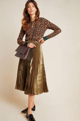 Caron Am.It By Amit Aggarwal Pleated Metallic Midi Skirt