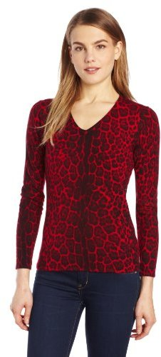 Sofie Women's 100% Cashmere Animal Print Long Sleeve V-Neck Sweater