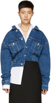 Balenciaga Blue Denim Oversized Shoulder Jacket