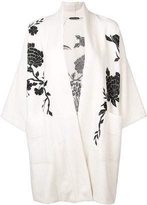 Josie Natori Peacock embroidered felted coat