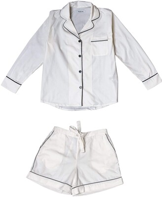 Phriya Women's White Classic Pajama Set With Shorts