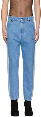 Random Identities Blue Straight Leg Mid-Rise Striped Jeans