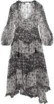 Zimmermann Divinity Ruffled Floral-print Silk-chiffon Midi Dress - Black