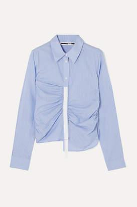 McQ Asymmetric Grosgrain-trimmed Ruched Striped Cotton-poplin Shirt - Blue