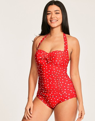 Figleaves Sorrento Spot Underwired Boyleg Bunny Tie Polka Dot Tummy Control Swimsuit D-GG