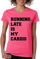Allntrends Women's T Shirt Running Late Is My Cardio (XL, )