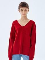 16fw Pocket V Neck Knit Top Red
