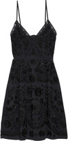 Needle & Thread Lace-trimmed embellished embroidered crepe de chine mini dress