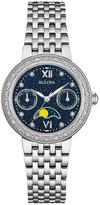 Bulova Ladies' Silvertone Diamond-Accented Blue Glittered Dial Chronograph Watch
