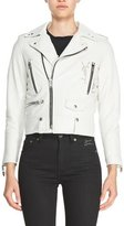 Saint Laurent L01 Leather Motorcycle Jacket with Deconstructed Logo, White