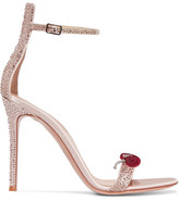 Gianvito Rossi Crystal-embellished Satin Sandals - Antique rose