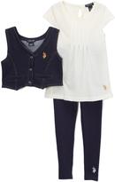U.S. Polo Assn. Peacoat Pin Tuck Tunic Set - Infant Toddler & Girls