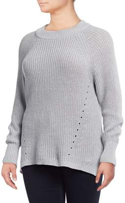 Lord & Taylor Plus Shaker Stitch High-Low Sweater